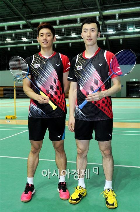 이용대(왼쪽)와 유연성[사진=김현민 기자]