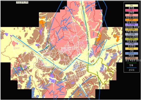 ▲서울시 지질도. 지도에 보이는 노란색이 충적층, 갈색은 호상 흑운모 편마암, 분홍색은 흑운모 화강암이다. 송파구와 같이 영등포구 강서구도 주로 충적층으로 이뤄져 있는 것을 확인할 수 있다.