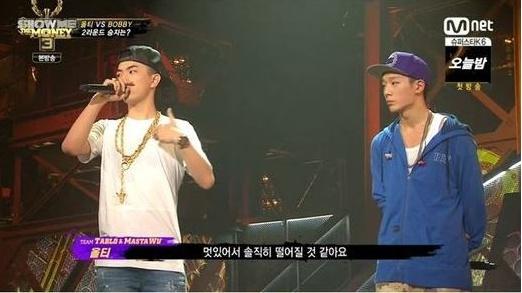 올티와 바비가 2차 대결을 펼쳤다. (사진=Mnet '쇼미더머니3' 방송 캡처)
