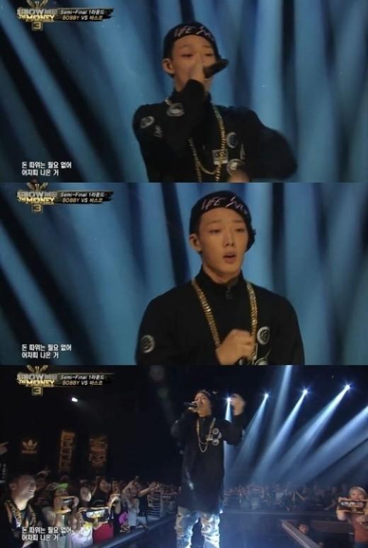 '쇼미더머니3' 바비 무대 [사진=Mnet '쇼미더머니3' 방송 캡처]