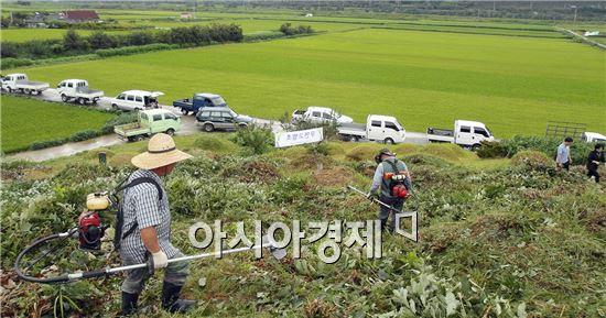 구례군 토지면 의용소방대 40여명이 추석을 앞두고  공동묘지 벌초를 실시했다.
