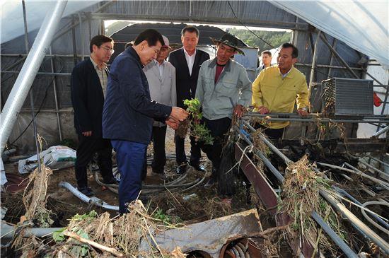 ▲최원병 농협중앙회장이 지난 29일 부산 기장군의 수해 현장을 방문했다.