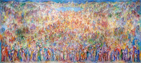 사인여천-무량화(事人如天-無量花), 2014, 600x270cm, Oil on Canvas