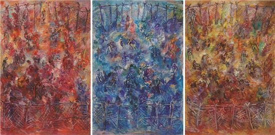개화-땅-빨강,파랑,노랑, 2012, 130x194cm(each), Oil on Cavas