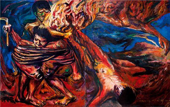 그 너머 2, 1988, 260x162cm, Oil on Cavas