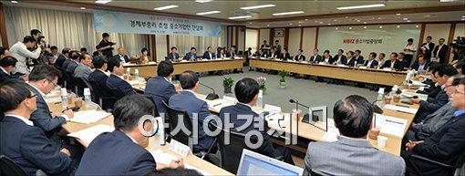 [포토]중소기업중앙회 찾은 최경환 경제부총리