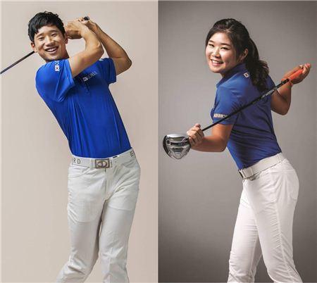 공태현(왼쪽)과 이소영. 사진=골프다이제스트 제공