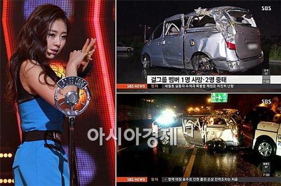 레이디스코드의 권리세(왼쪽)와 사고차량 [사진=아시아경제 DB]