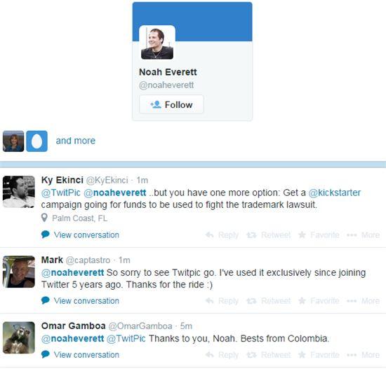 트위픽 창업자 노아 에버렛의 트위터 계정에 트위픽 서비스 종료에 대한 안타까움, 그동안의 고마움을 표현하는 글들이 줄을 잇고 있다.