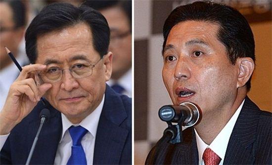 ▲최수현 금감원장(왼쪽)과 임영록 KB금융지주 회장