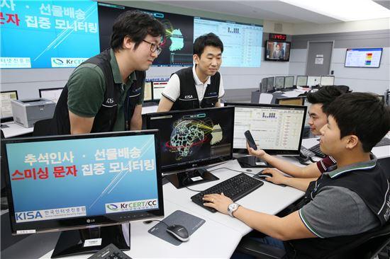 한국인터넷진흥원(KISA)은 각종 사이버 위협에 대비하기 위해 연휴기간 모니터링을 강화하고 24시간 대응 체제를 운영한다.(KISA 제공)