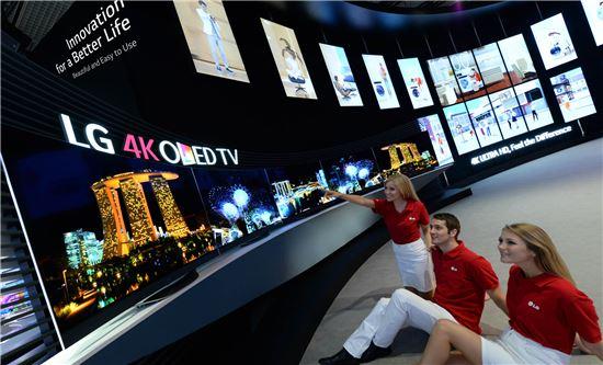 ▲LG전자가 IFA 2014에서 전시한 4K 올레드 TV
