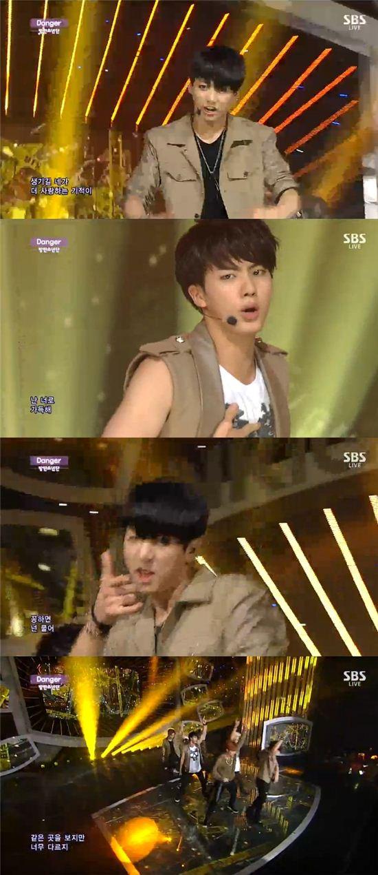 방탄소년단이 7일 SBS 인기가요에 출연해 '데인저'를 열창했다./SBS 캡처