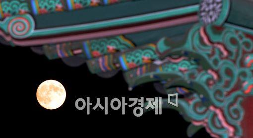 [포토]'처마 아래 슈퍼문'