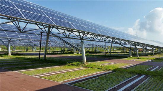 세종시 호수공원주차장에 설치된 태양광발전시설