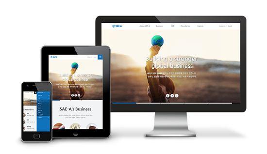 세아상역의 새 홈페이지는 모든 스마트 기기에 따라 화면 구성이 자동으로 변환된다. /