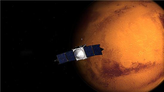 ▲7억km를 비행한 메이븐이 마침내 화성 궤도에 진입한다.[사진제공=나사]