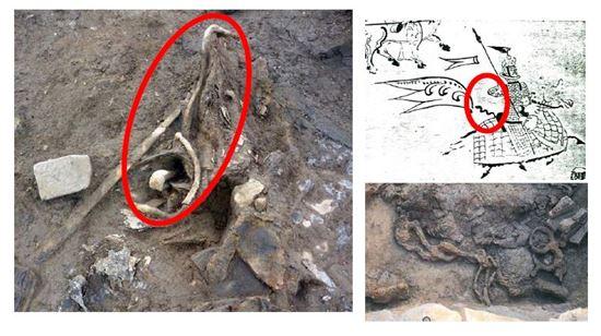 실물로 발견된 백제시대 깃대꽂이(왼쪽). 오른쪽 위는 고구려 쌍영총 벽화의 깃대꽂이. 아래는 합천 옥전고분에서 발굴된 가야의 깃대꽂이다.