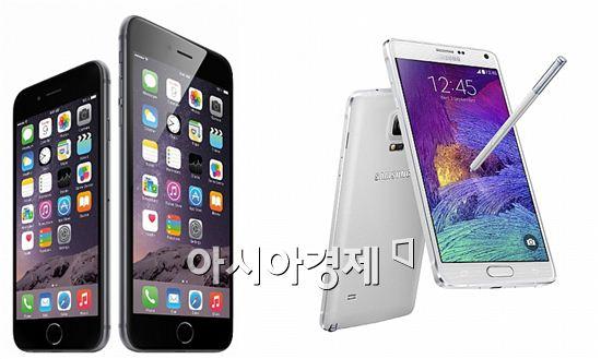 아이폰6 플러스(왼쪽)와 갤럭시노트4