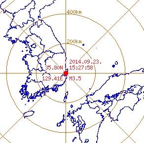 경주 규모 3.5 지진 [사진=기상청]
