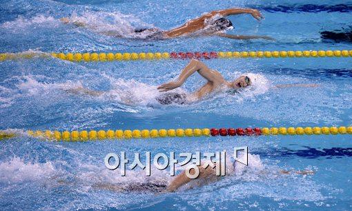 [포토]박태환-쑨양-하기노,'다같이 나란히'