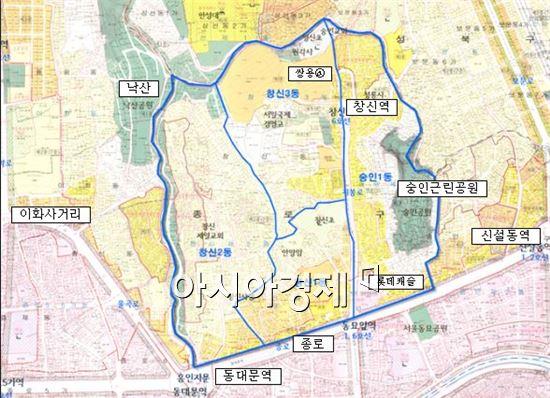 창신·숭인 도시재생선도구역 위치도