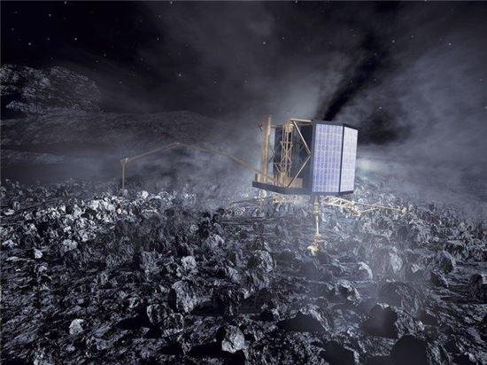 ▲필레 착륙선이 혜성 표면에 도착한다.