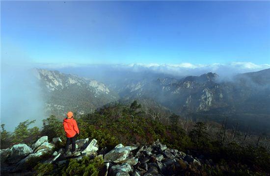설악산 종주길에서 만나는 웅장한 풍경. 정상부의 단풍은 지고 빠르게 하산하고 있다