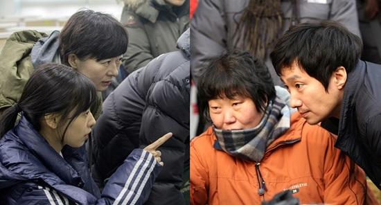 부지영 감독과 지우(좌), 임순례 감독과 박해일(우)