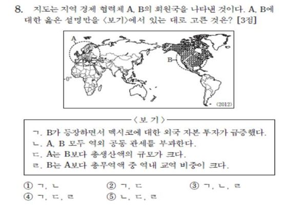 2014 대학수학능력시험 세계지리 8번 문항