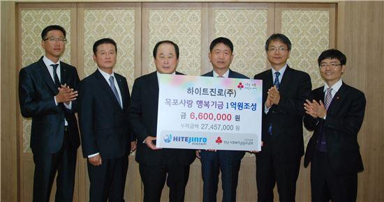 하이트진로(주) 목포지점(지점장 김길석)은 16일 '목포사랑 행복기금 1억원 조성 캠페인'을 전개해 모아진 이웃사랑성금 660여만원을 전남사회복지공동모금회(회장 허정)에 기탁했다.