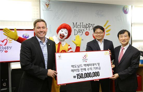 맥도날드가 맥해피데이(McHappy Day) 자선 행사 통해 1억5000만원을 기부했다.