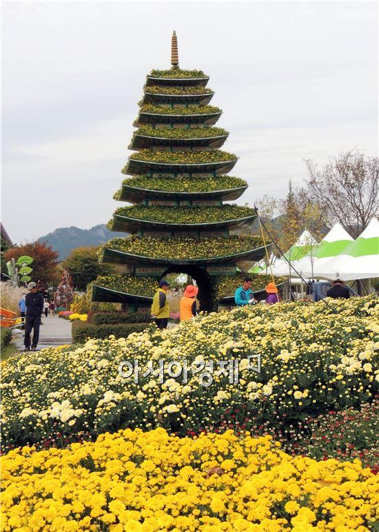 휴일인 19일 관광객들이 함평국향대전이 열릴 함평엑스포공원을 찾아와 국화꽃을 보면서 가을을 만끽하고 있다.  함평군은  '국화향기 그윽한 풍요로운 함평천지!'를 주제로 10월24일부터 11월9일까지 17일간 함평군 함평읍 함평엑스포공원에서 개최한다.