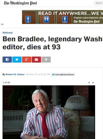 벤자민 브래들리 타계, 향년 93세 [사진=워싱턴 포스트 홈페이지 화면 캡처]