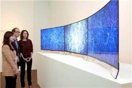 서울대학교 미술관에서 열리는 '하이브리드 하이라이트-스위스&코리아' 전시회 관계자들이 OLED TV에 전시된 작품을 살펴보고 있다.