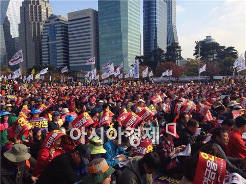 ▲'공적연금 개악 저지 공동투쟁본부'가 1일 오후1시 '100만 공무원·교사 총궐기대회'를 개최했다.