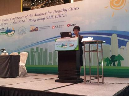 김경희 성동구보건소장이 제6차 AFHC(서태평양 건강도시연맹) 국제 컨퍼런스에서 주제 발표를 하고 있다