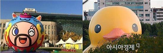 초대형 돼지 풍선과 러버덕 [왼쪽 사진=서울문화재단 제공]