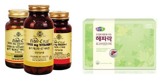 (왼쪽부터) 솔가 에스터C, 풀무원건강생활 그린체 헤파락