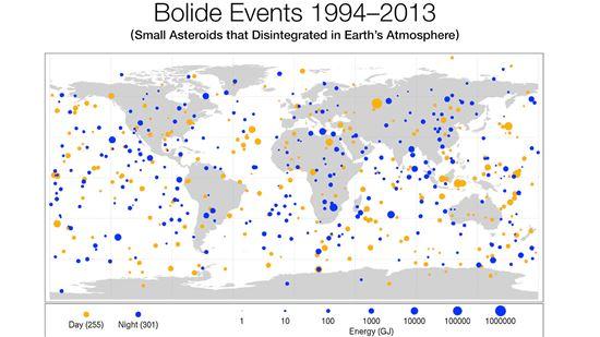 ▲소행성 지도. 오렌지색은 낮에 떨어진 것이고 파란색은 밤에 떨어졌다.[사진제공= NASA]