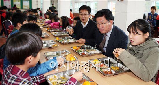 강인규 나주시장이 17일 영산포초등학교에서 배식을 한 뒤 학생들과 식사를 하며 얘기를 듣고 있다.