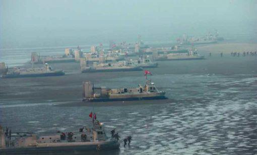 북한이 벌인 연합협동훈련에서 공방급 공기부양정이 대거 동원됐다.