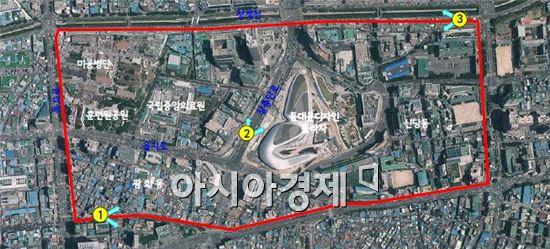 동대문 역사문화공원 지구단위계획구역 항공사진(자료:서울시)