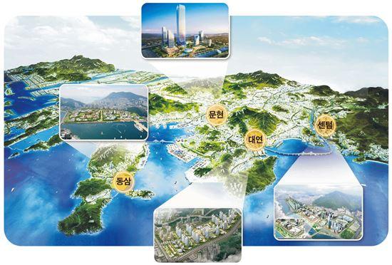 부산혁신도시 4개 지구 위치도