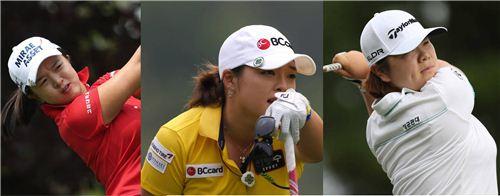 김세영과 장하나, 이민영(왼쪽부터)이 각각 연세대와 고려대, 성균관대 로고를 달고 경기하는 장면이다. 사진=KLPGA제공