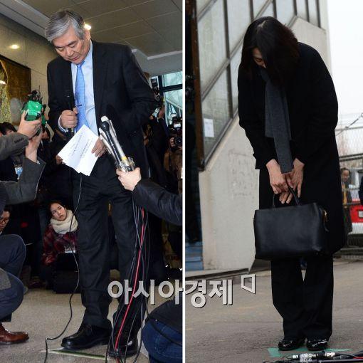 조양호 한진그룹 회장이 조현아 전 대한항공 부사장의 '땅콩 리턴' 사태와 관련해 사과하는 모습(오른쪽).