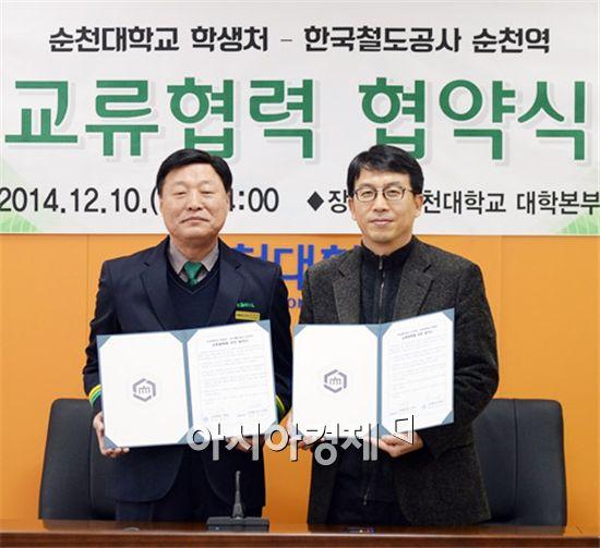 김창호 역장(왼쪽)과 나의식 처장이 교류협력 협약서를 들고 기념사진을 촬영하고있다.