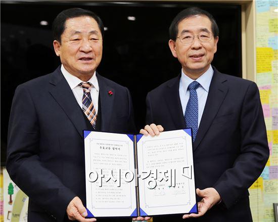 안벙호 함평군수(왼쪽)와 박원순 서울시장이 협약을 체결하고 기념사진을 촬영하고있다. 사진제공=함평군