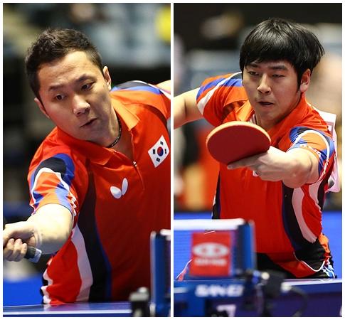 2014 국제탁구연맹(ITTF) 월드 투어 그랜드 파이널스 남자 복식에서 정상에 오른 조언래(왼쪽)와 서현덕[사진 제공=대한탁구협회]