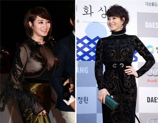 김혜수 청룡영화제 작년(왼쪽) 올해(오른쪽) 의상
